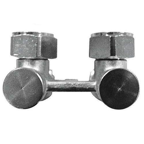 H-ventil TS-3000 za dvocevni sistem grejanja, sa obostranim zatvaranjem, nameštanje sa prednje strane, priključak grejnog tela G 3/4 - ugaoni model